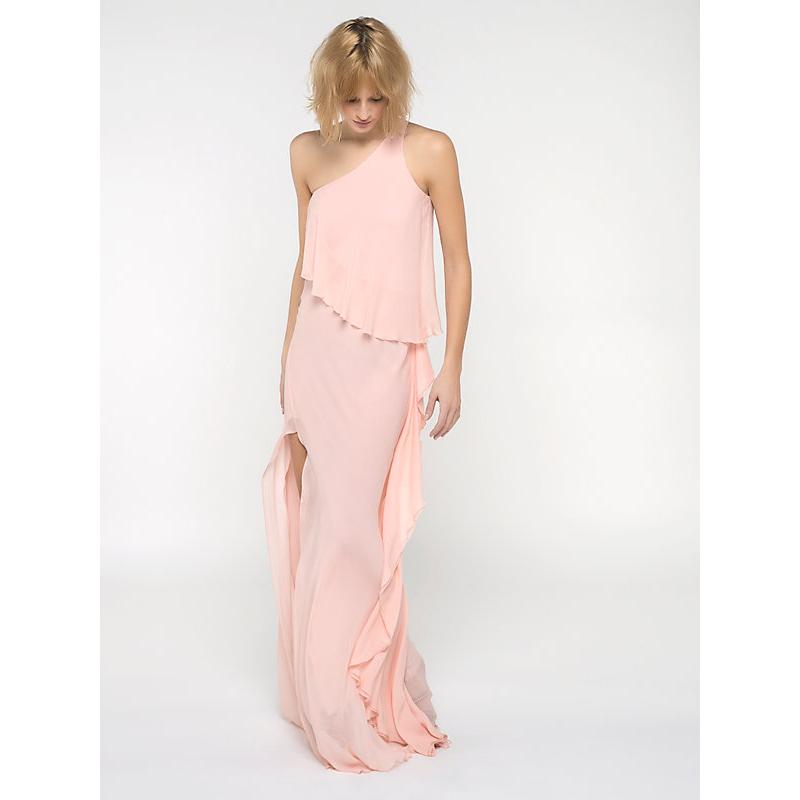 Top Patrizia Pepe • lange roze jurk met ruches en laagjes • shop  #CV05