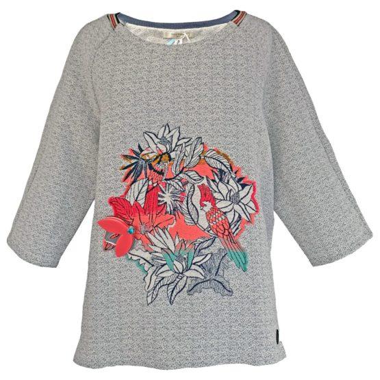 Dame Blanche • grijze trui met bloemen en vogels
