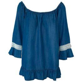 Scapa Flow • denim blouse met wit borduursel
