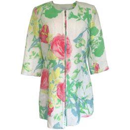 Senso • lange blazer met bloemen print en driekwart mouwen