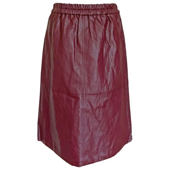 Hampton Bays • bordeaux midi rok met leerlook Riu