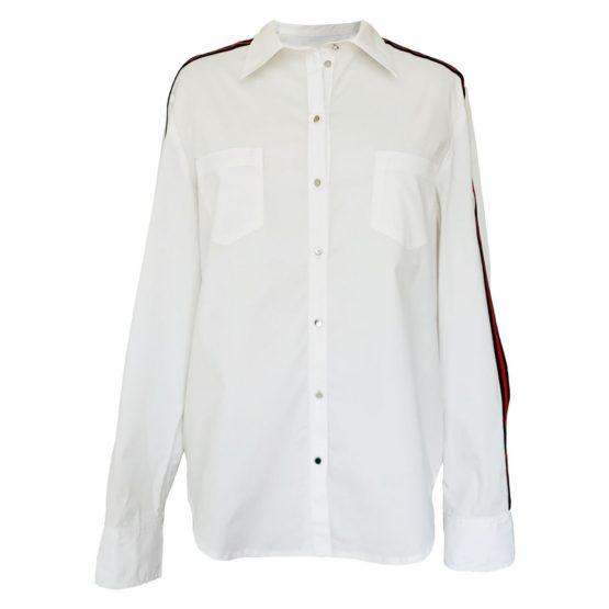 Senso • off white blouse met rood met donkerblauwe bies