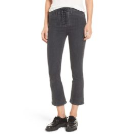 Hudson Jeans • zwarte high rise bullock lace up cropped boot cut jeans