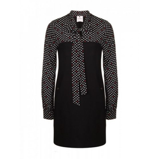 AnnaRita N • zwarte jurk met witte polkadots en rode hartjes