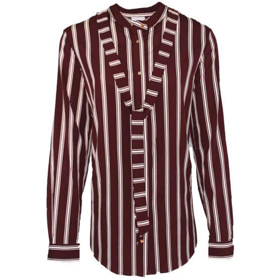 Dante 6 • satijnen bruin gestreepte blouse met lint