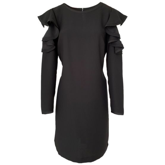 Marc Aurel • zwarte jurk met open schouders en ruches