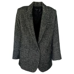 Repeat Cashmere • tweed wollen jas in zwart grijs