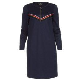 SET • donkerblauwe jurk met strepen en zilveren rits
