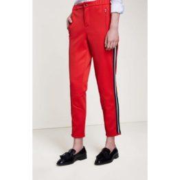 SET • rode pantalon met bies van zwart en zilver