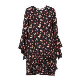 AnnaRita N • zwarte jurk met bloemen motief en ruches