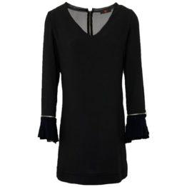 S' • zwarte jurk met V-hals, gaas en zilveren ritsen