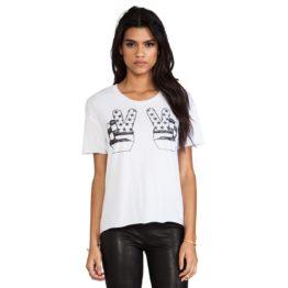 Zoe Karssen • wit shirt met vingers tee peace