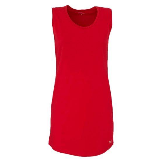 Mooi! • lange rode top met ronde hals