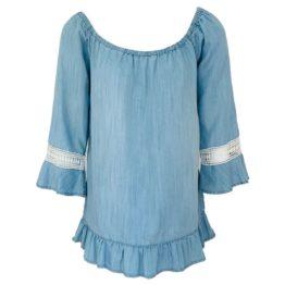 Scapa Flow • lichtblauwe denim tuniek met wit borduursel