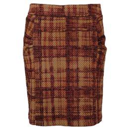 Enolah • bruin geruite rok met plooitjes
