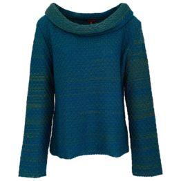 Enolah • gebreide trui in groen blauw melange