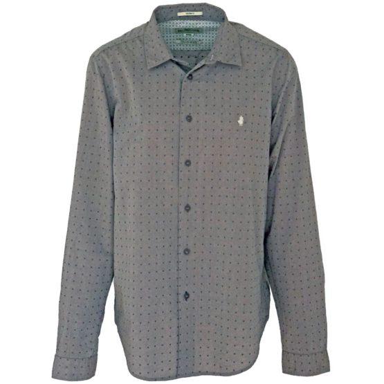 MCS • grijs overhemd met donkerblauwe dots
