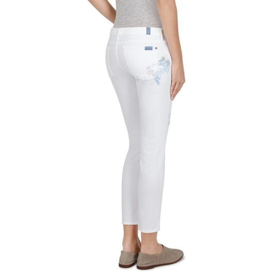 7 for all Mankind • witte Pyper Crop jeans met bloemen