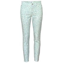 Cambio Jeans • mintgroene skinny jeans Parla met dierenprint