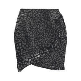 IRO • korte zwarte rok met luipaard motief Baying