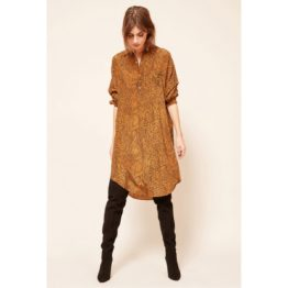 Mes Demoiselles • blouse jurk in oker met slangen print