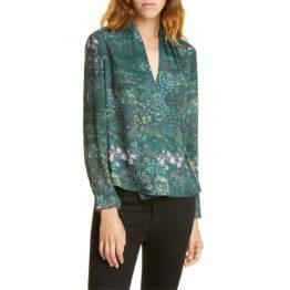 Ted Baker • groene overslag blouse met bloemen