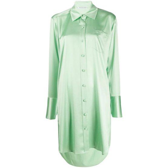 Alexander Wang T • mint groene satijnen blouse jurk