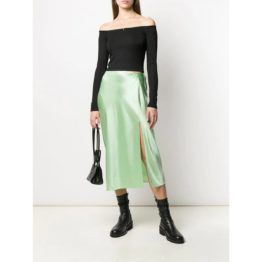 T by Alexander Wang • satijnen midi rok in mint