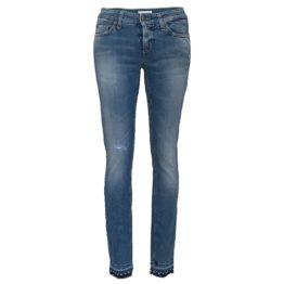 Cambio Jeans • blauwe jeans Liu short met beschadigingen