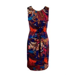 Joseph Ribkoff • blauwe jurk met kleurrijk barok motief