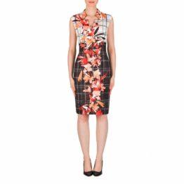Joseph Ribkoff • zwart wit geblokte jurk met bloemen