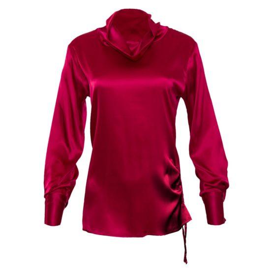Gold Hawk • zijden blouse met col in fuchsia