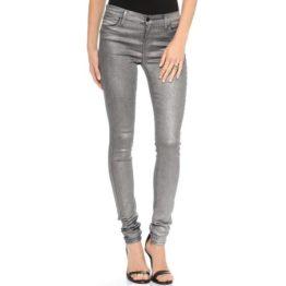J Brand • blauwe super skinny jeans met zilveren coating