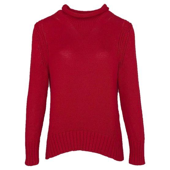Mara May • rode gebreide trui met rolkraag