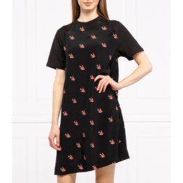 McQ Alexander McQueen • jurk met korte mouwen en zwaluwen
