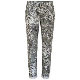 Cambio Jeans • grijze slim fit jeans Pina met witte bloemen