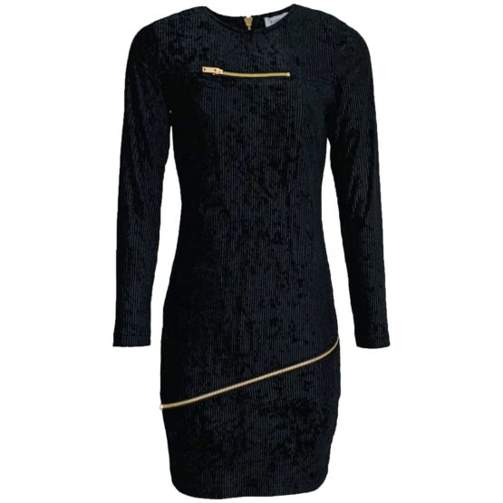 Radical • zwarte fluwelen jurk met ritsen