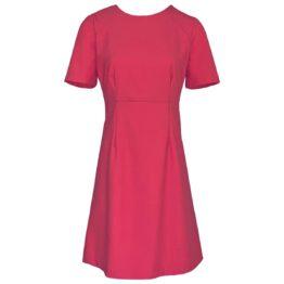 Twinset • belijnde roze jurk met korte mouwen