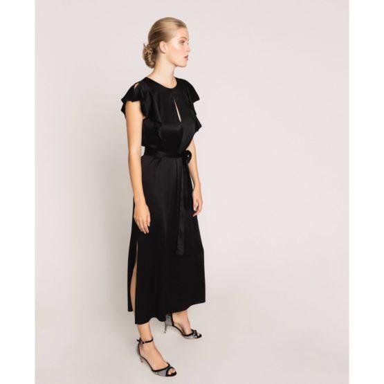 Twinset • zwarte satijnen maxi jurk met korte mouwen
