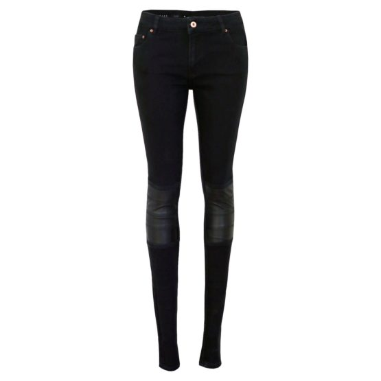Avelon • zwarte skinny jeans met leerlook details