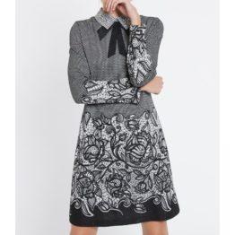 Ana Alcazar • zwarte zilveren jurk met kraag