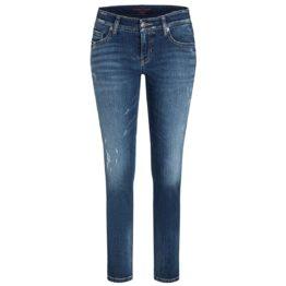 Cambio Jeans • blauwe jeans Liu met metalic bies