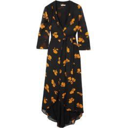 Ganni • zwarte maxi omslag jurk met oranje bloemen