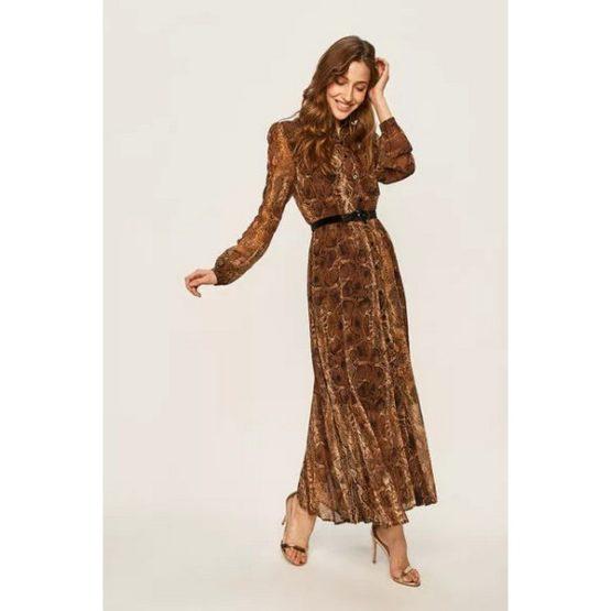Liu Jo • bruine maxi jurk met knoopjes