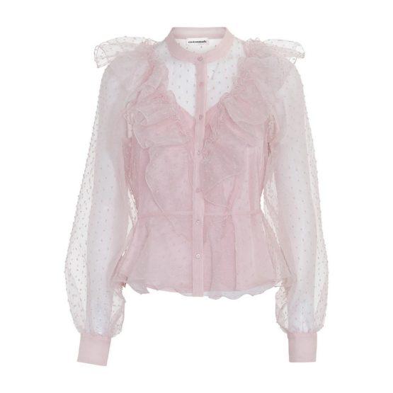 Custommade • roze blouse met polkadots