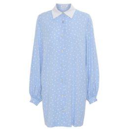 Custommade • lichtblauwe jurk Jill met witte polka-dots