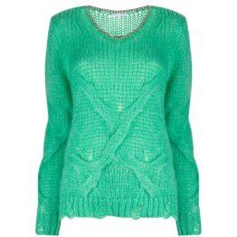 Patrizia Pepe • groene mohair trui met ketting