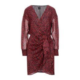 Pinko • korte rode jurk met luipaard motief