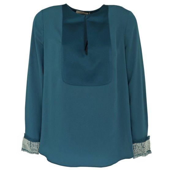 Twinset • caribbean blauwe blouse met parels
