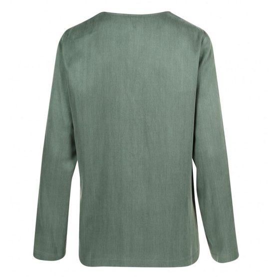 Drykorn • kaki blouse Lilyen met V-hals